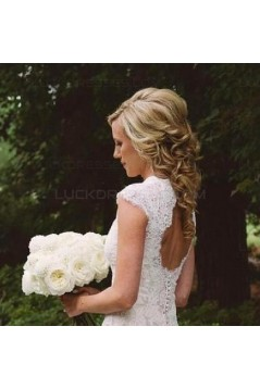 Elegant Lace V-Neck Keyhole Back Wedding Dresses Bridal Gowns 3030268