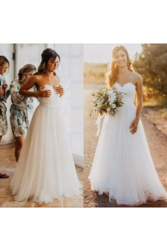 A-Line Sweetheart Lace Tulle Wedding Dresses Bridal Gowns 3030269