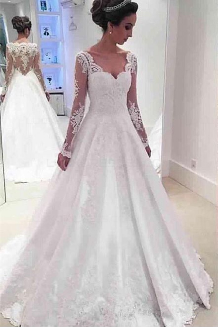 A-Line Long Sleeves Lace Wedding Dresses Bridal Gowns 3030273