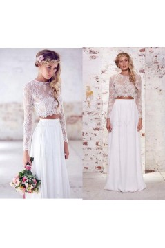 Long Sleeves Lace Chiffon Two Pieces Wedding Dresses Bridal Gowns 3030274