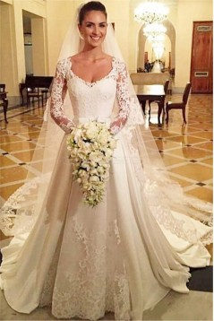 Long Sleeves Lace Wedding Dresses Bridal Gowns 3030285