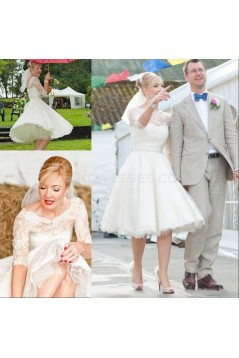 3/4 Length Sleeves Lace Wedding Dresses Bridal Gowns 3030287