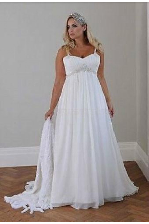 Empire Chiffon Plus Size Maternity Wedding Dresses Bridal Gowns