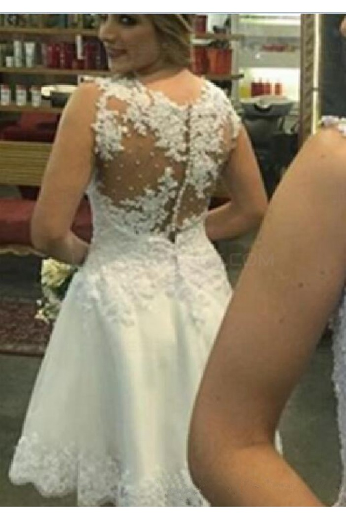 A-Line Short Illusion Neckline Lace Wedding Dresses Bridal Gowns 3030290