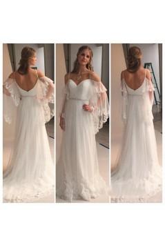 Sheath/Column Spaghetti Straps Lace Wedding Dresses Bridal Gowns 3030291