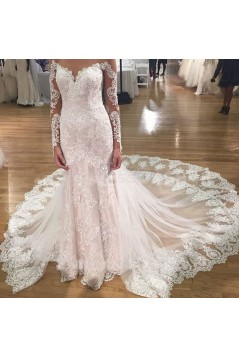 Long Sleeves Lace Mermaid Illusion Bodice Wedding Dresses Bridal Gowns 3030293
