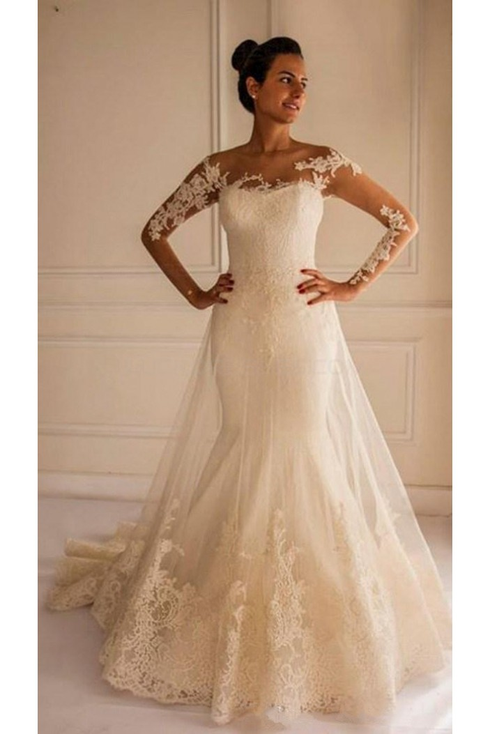 Long Sleeves Lace Mermaid Illusion Bodice Wedding Dresses Bridal Gowns 3030294
