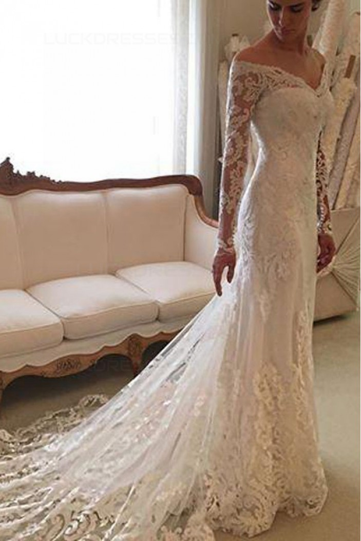 Mermaid Long Sleeves Lace Off-the-Shoulder Wedding Dresses Bridal Gowns 3030296