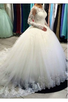 Ball Gown Long Sleeves Lace Tulle Wedding Dresses Bridal Gowns 3030298