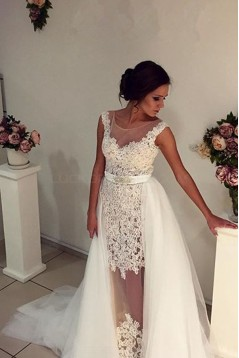Lace Tulle Sleeveless Wedding Dresses Bridal Gowns 3030299