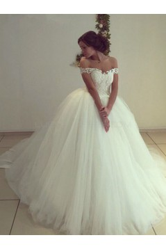 Lace Tulle Ball Gown Off-the-Shoulder Wedding Dresses Bridal Gowns 3030301