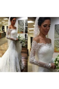 Long Sleeves Lace Off-the-Shoulder Mermaid Wedding Dresses Bridal Gowns 3030302