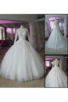 Bateau Neckline Long Sleeves Lace Wedding Dresses Bridal Gowns 3030304
