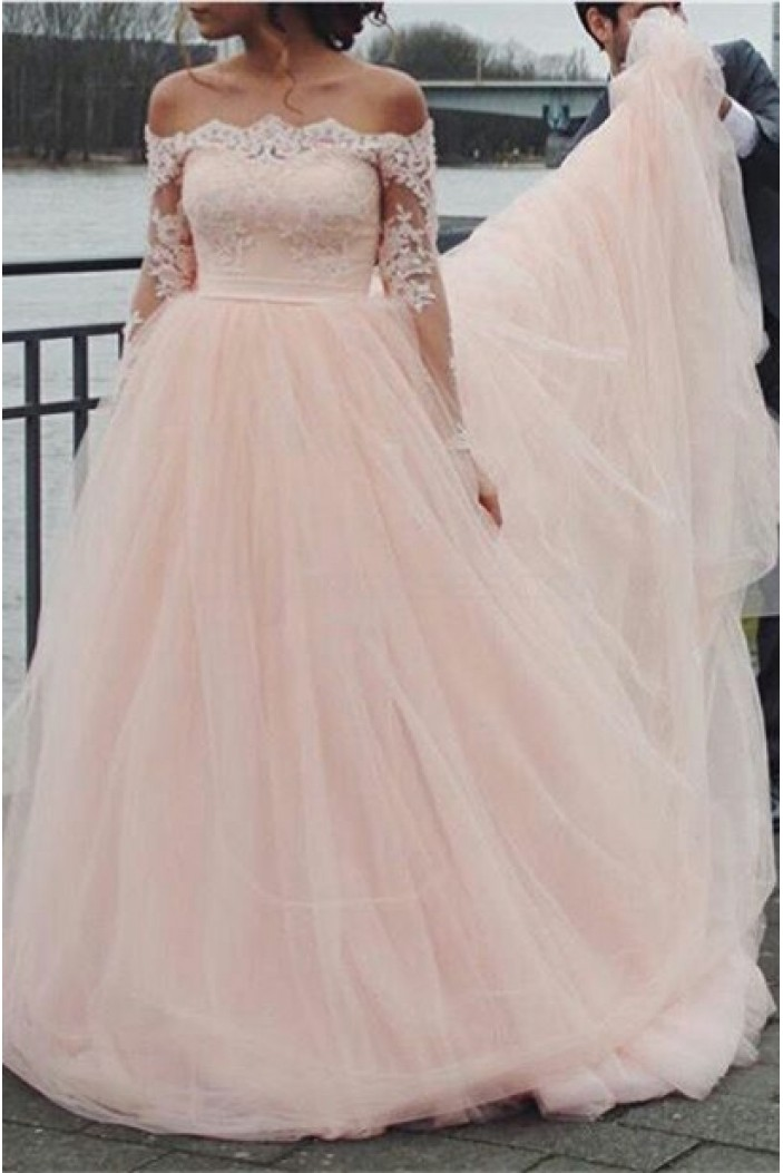 Long Sleeves Off-the-Shoulder Lace Wedding Dresses Bridal Gowns 3030305