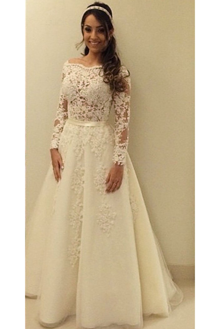 A-Line Lace Long Sleeves Wedding Dresses Bridal Gowns 3030308