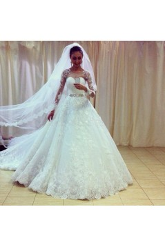 A-Line Lace Long Sleeves Wedding Dresses Bridal Gowns 3030309
