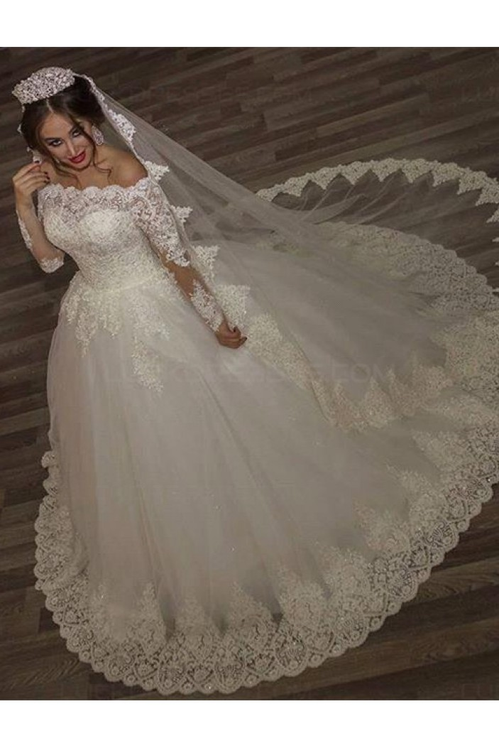 Ball Gown Lace Long Sleeves Off-the-Shoulder Wedding Dresses Bridal Gowns 3030310