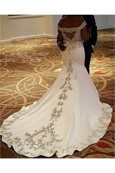 Mermaid Off-the-Shoulder Lace Satin Wedding Dresses Bridal Gowns 3030311