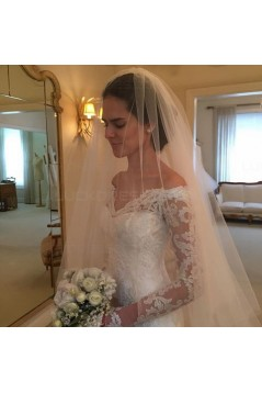 Lace Long Sleeves Off-the-Shoulder V-Neck Mermaid Wedding Dresses Bridal Gowns 3030312