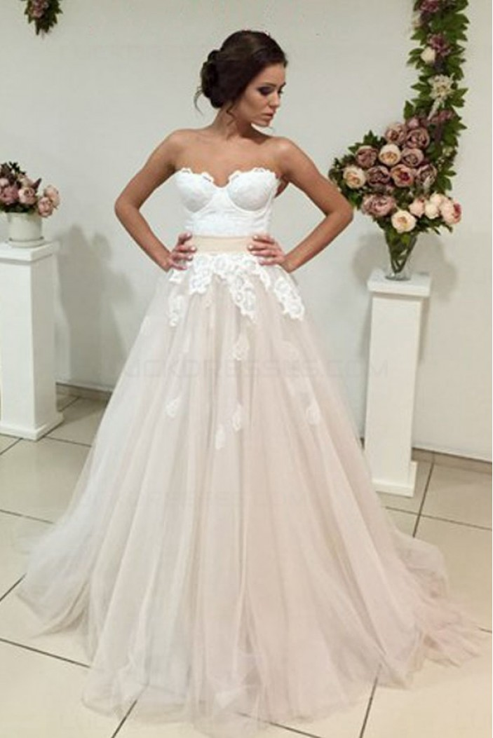 A-Line Sweetheart Lace Tulle Wedding Dresses Bridal Gowns 3030317