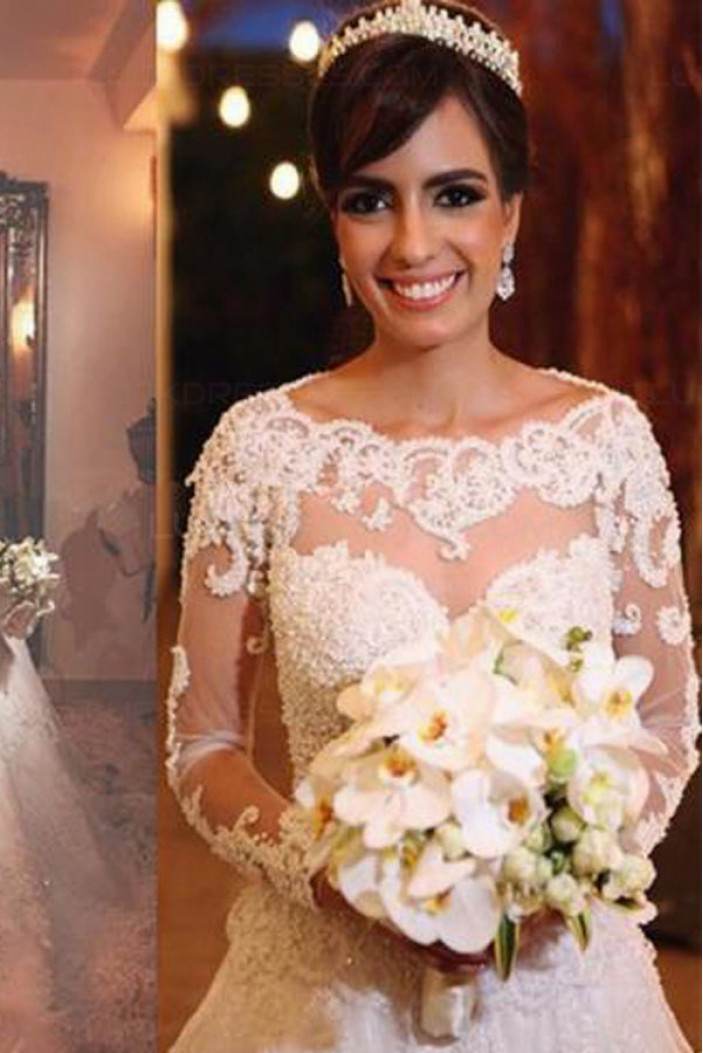 A-Line Long Sleeves Lace Wedding Dresses Bridal Gowns 3030319