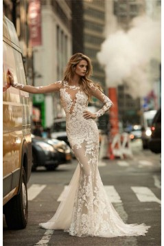 Sexy Mermaid Long Sleeves Lace Sheer Wedding Dresses Bridal Gowns 3030320