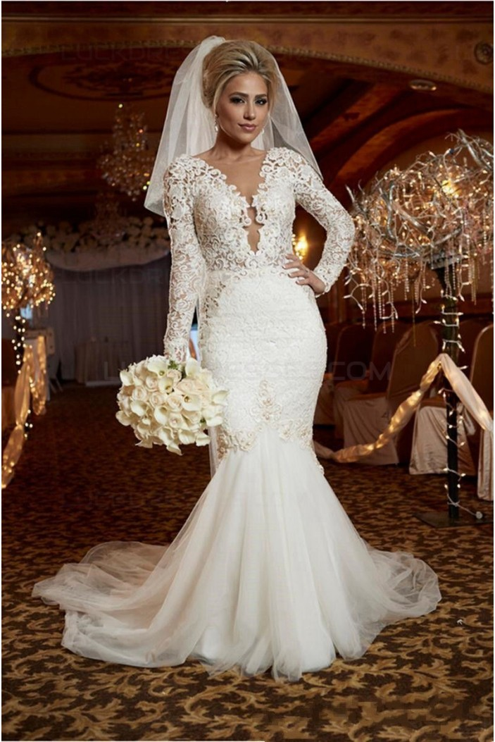 Sexy Mermaid Long Sleeves Lace Wedding Dresses Bridal Gowns 3030321