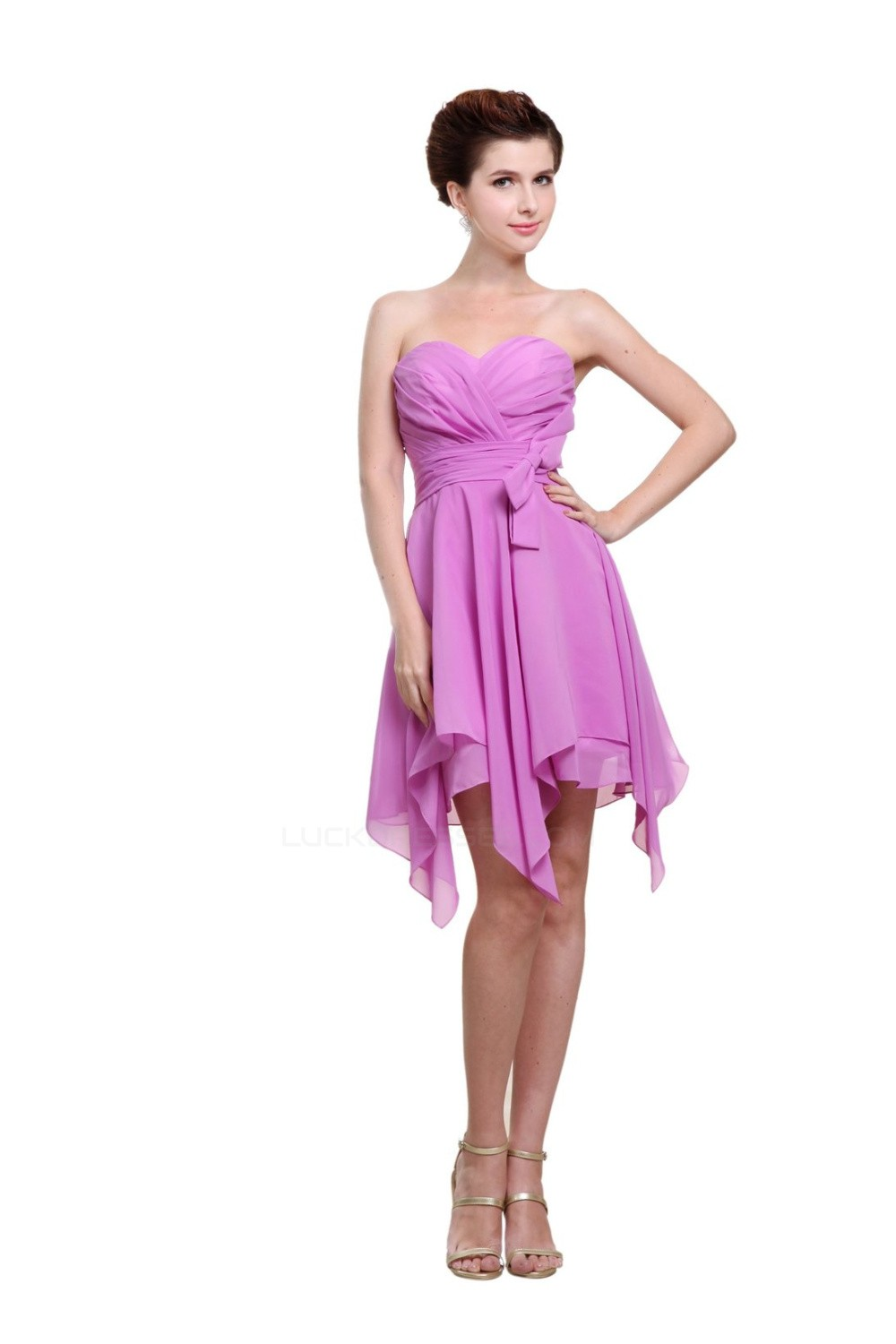 A Line Sweetheart Short Purple Bridesmaid Dresses/Wedding Party Dresses  BD010003