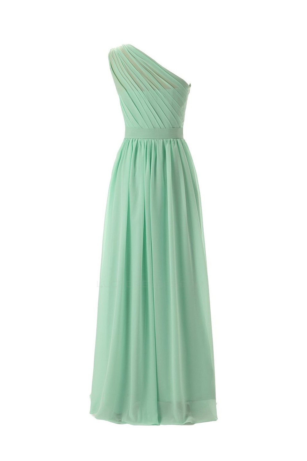 A-Line One-Shoulder Mint Green Long Chiffon Bridesmaid Dresses ...