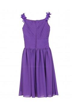 A-Line Straps Short Purple Chiffon Bridesmaid Dresses/Wedding Party Dresses BD010016