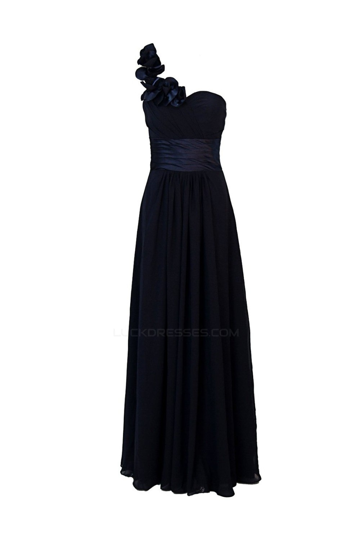 5bbc82c072 A-Line Navy Blue One-Shoulder Long Chiffon Bridesmaid Dresses Wedding Party  Dresses BD010022