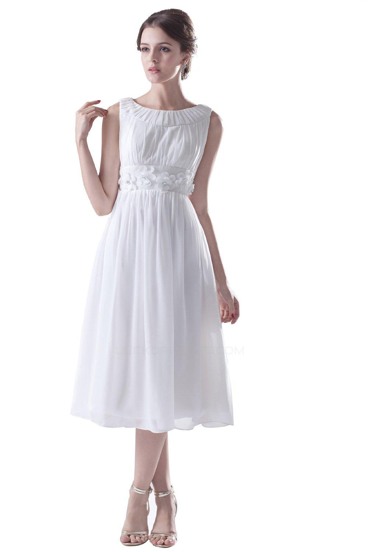 A Line Short White Chiffon Bridesmaid Dresses Wedding