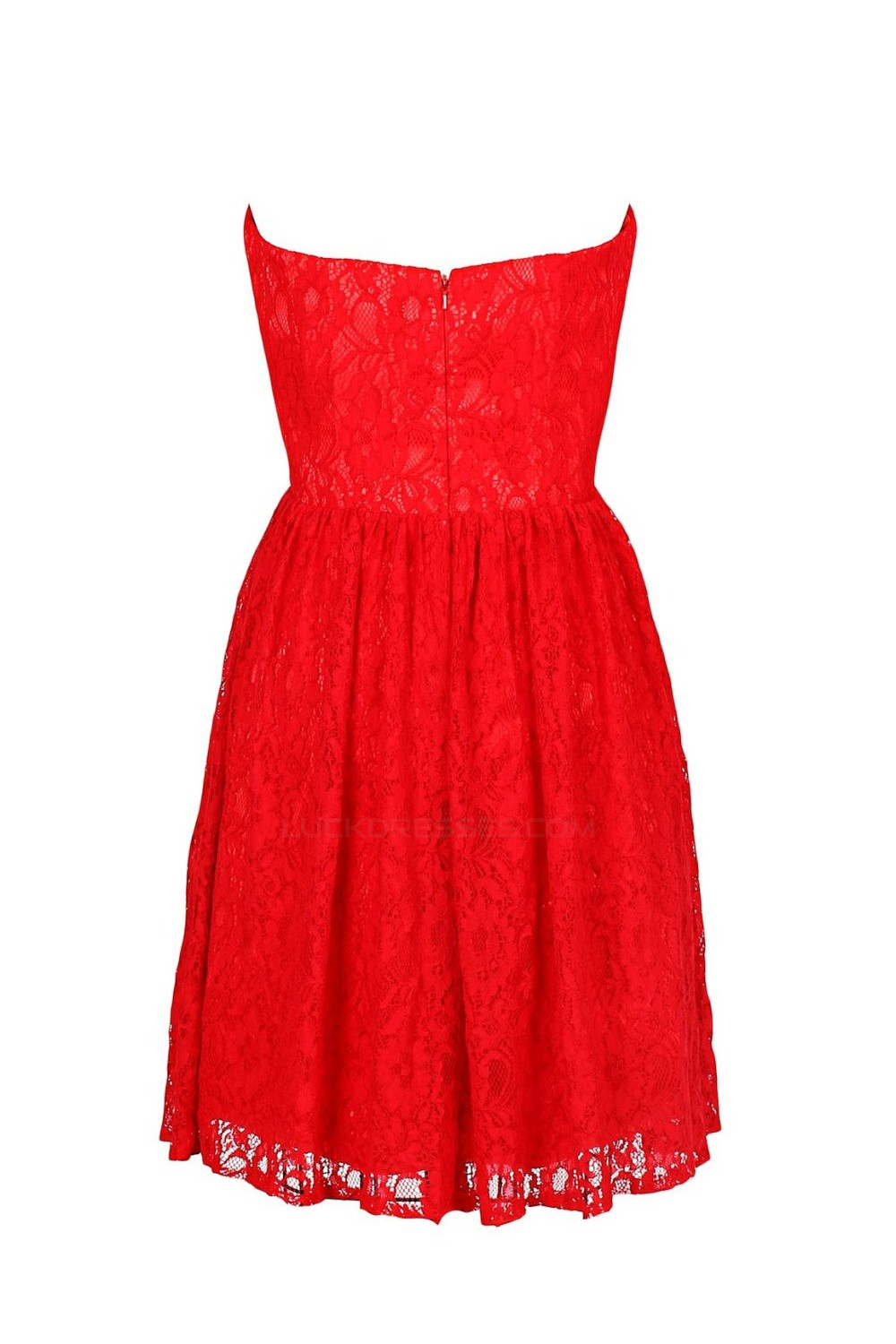 aline sweetheart short red lace bridesmaid dresses