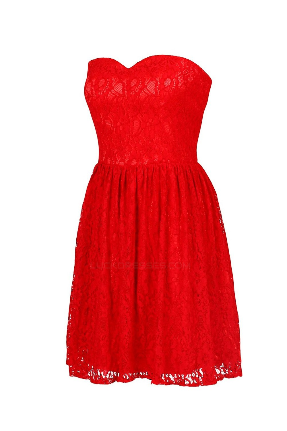 A Line Sweetheart Short Red Lace Bridesmaid Dresses