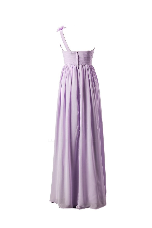 Empire One-Shoulder Long Purple Chiffon Bridesmaid Dresses/Wedding ...