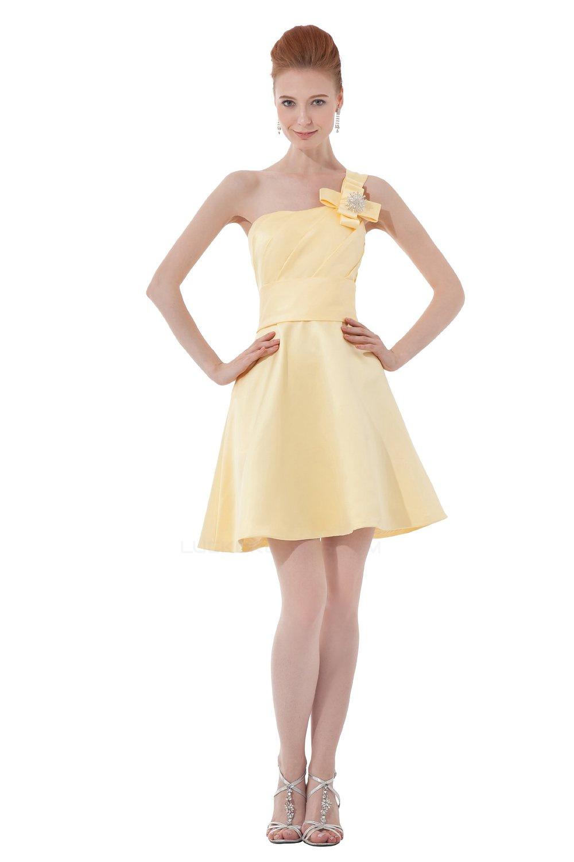 A Line One Shoulder Short Mini Yellow Bridesmaid Dresses Wedding Party Bd010038