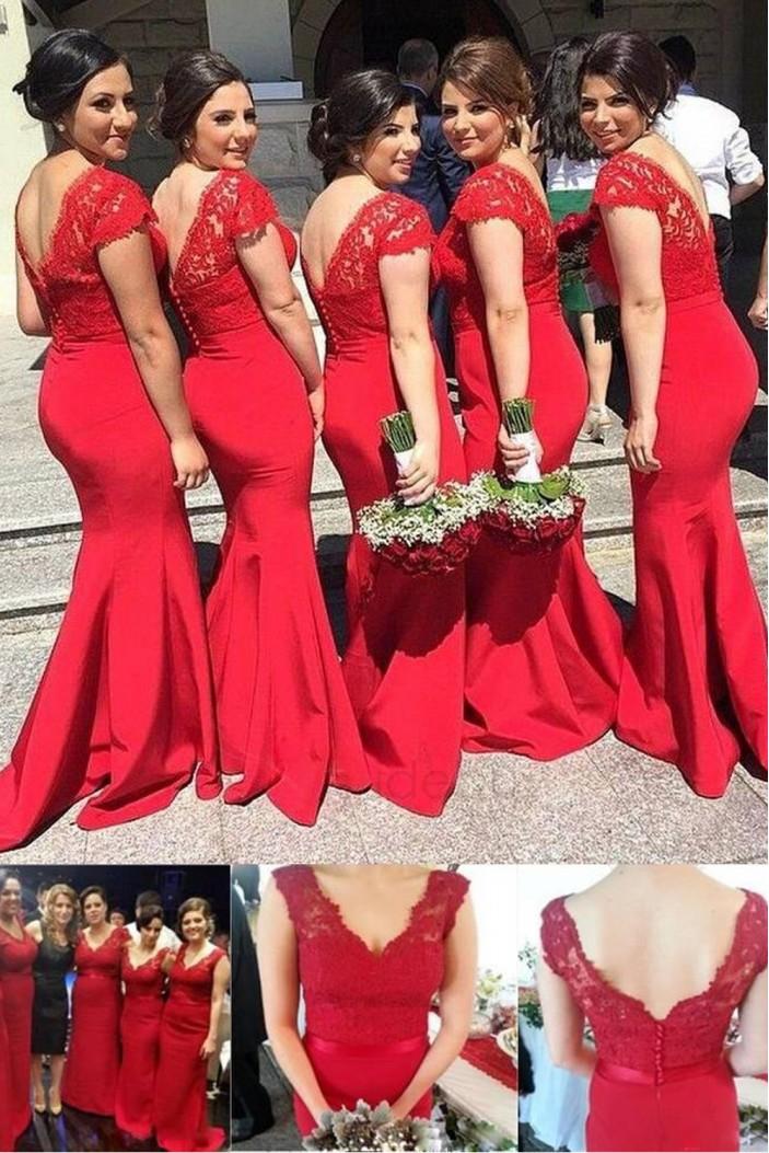 Mermaid V Neck Lace Long Red Bridesmaid Dresses Wedding