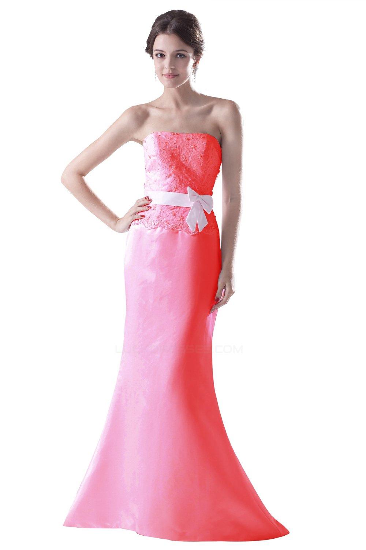 Trumpet Mermaid Strapless Long Bridesmaid Dresses Wedding Party Bd010050