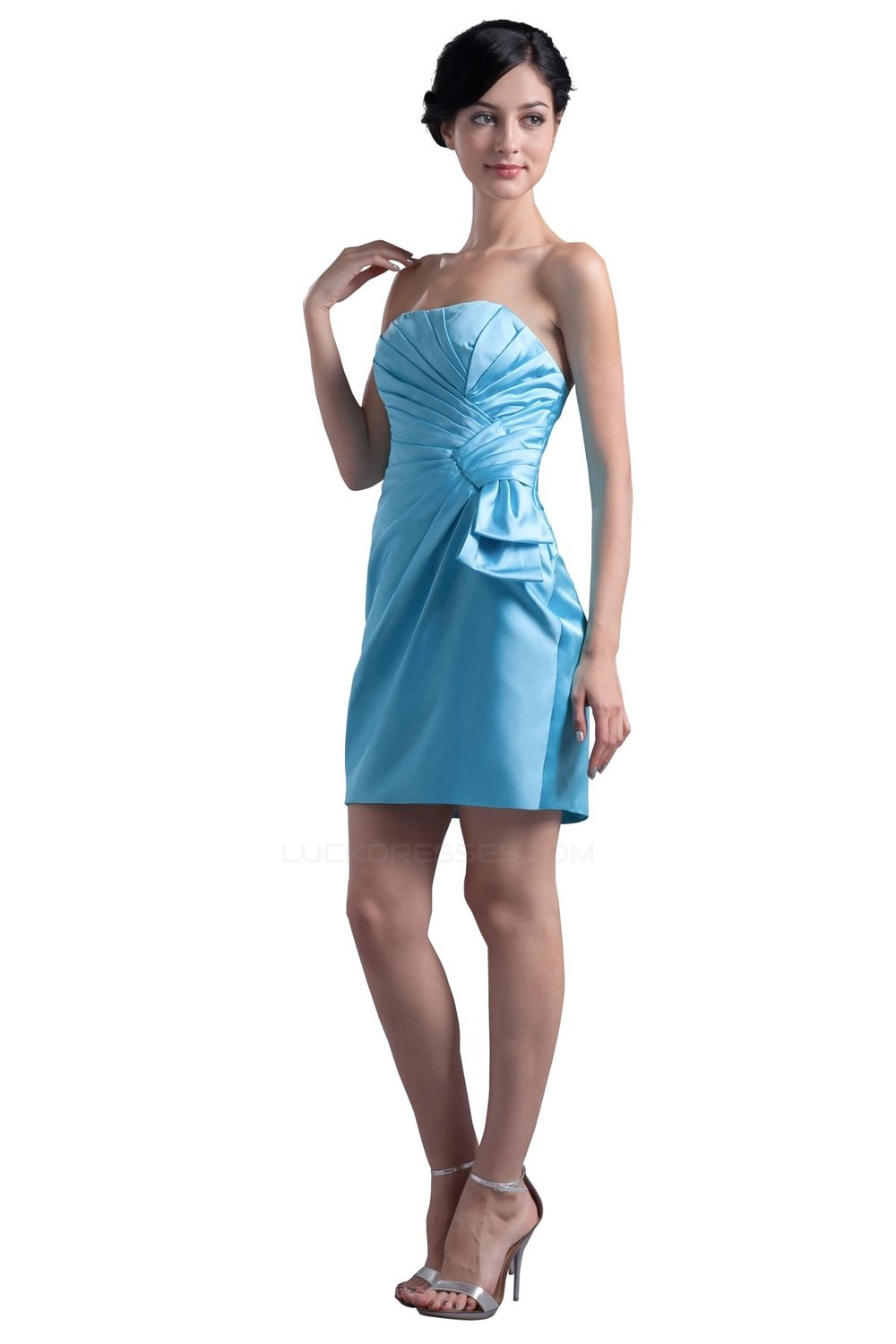 Short/Mini Strapless Blue Bridesmaid Dresses/Wedding Party Dresses ...