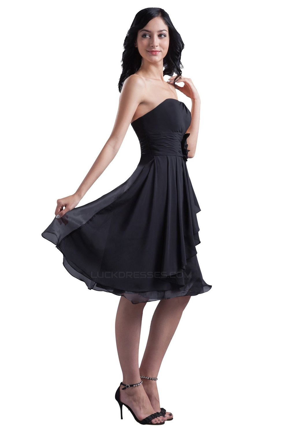 b2af0306fbd A Line Strapless Short Black Chiffon Bridesmaid Dresses Wedding