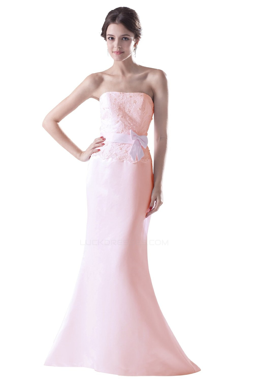 Trumpet Mermaid Strapless Long Bridesmaid Dresses Wedding
