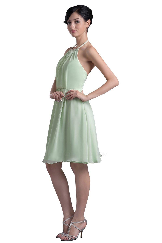 A Line Halter Short Chiffon Bridesmaid Dresses Wedding Party BD010068