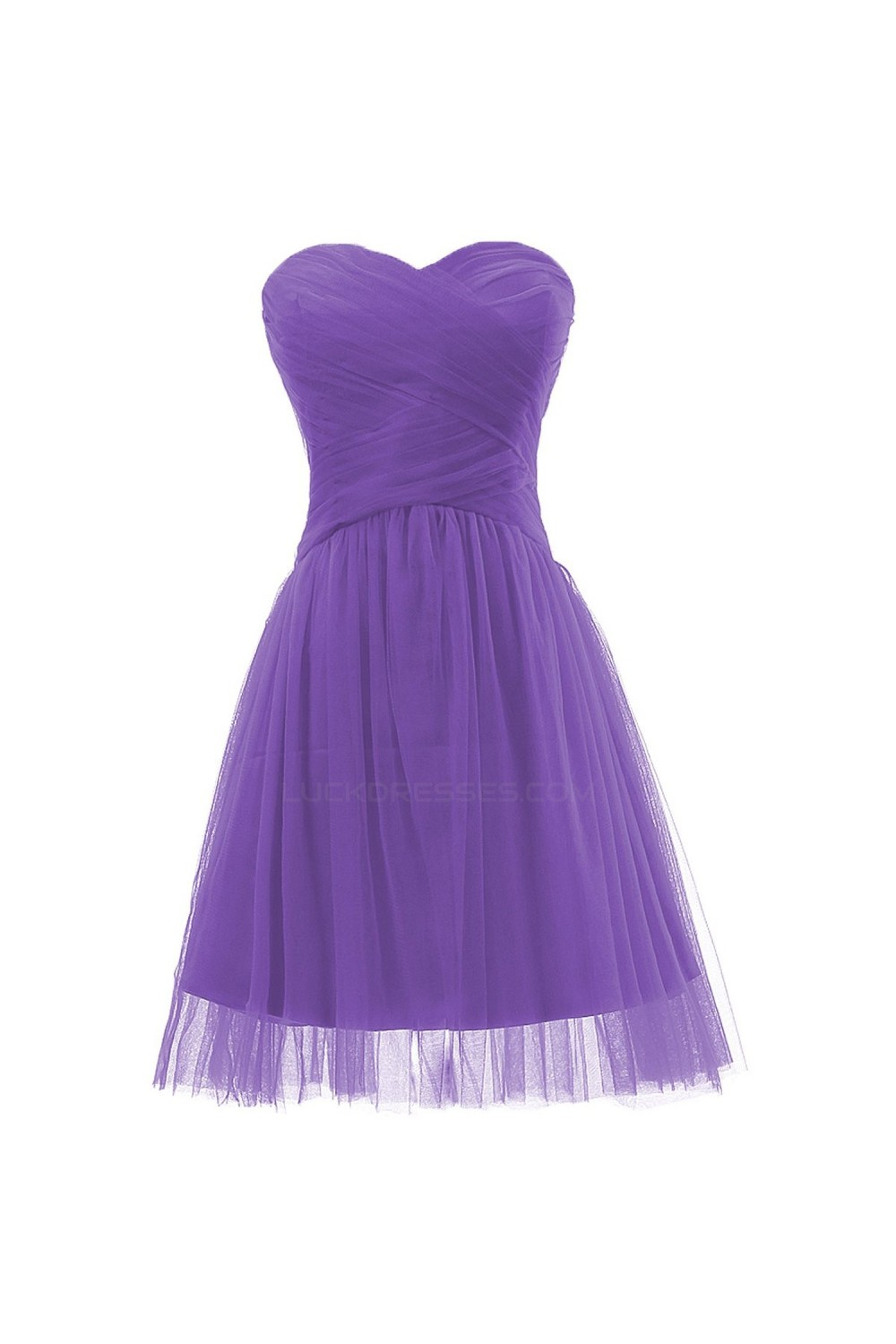A Line Sweetheart Short Purple Tulle Bridesmaid Dresses