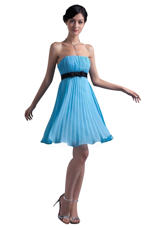 A-Line Strapless Short/Mini Blue Pleated Chiffon Bridesmaid Dresses ...
