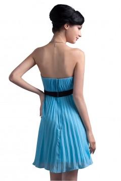 A-Line Strapless Short/Mini Blue Pleated Chiffon Bridesmaid Dresses/Wedding Party Dresses BD010077