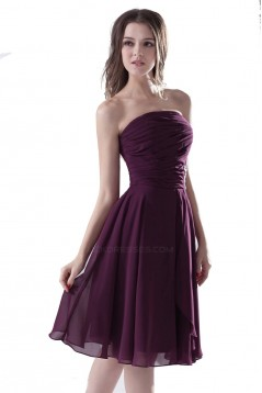 A-Line Strapless Short/Mini Chiffon Bridesmaid Dresses/Wedding Party Dresses BD010078