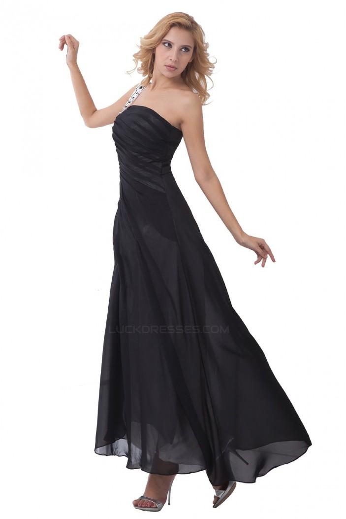 A Line One Shoulder Long Black Chiffon Bridesmaid Dresseswedding