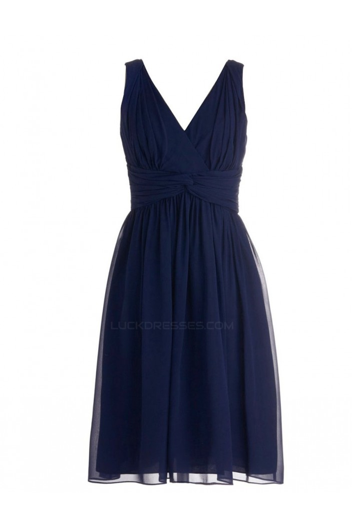 A Line V Neck Short Navy Blue Chiffon Bridesmaid Dresses Wedding Party Dresses Bd010093