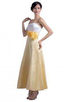 A-Line Strapless Tea Length Bridesmaid Dresses/Wedding Party Dresses BD010095