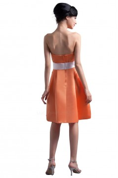 A-Line Strapless Orange Short Satin Bridesmaid Dresses/Wedding Party Dresses BD010097